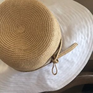 White and natural scala summer hat